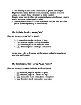 Plural Nouns, Genders and Articles Notes