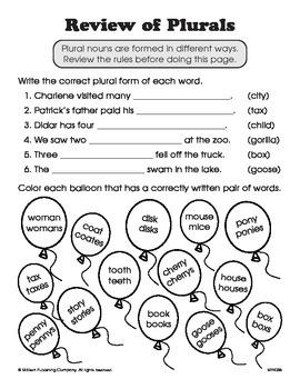 Plural Nouns (CCSS L.3.1b)