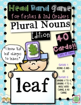 Plural Nouns Head Band Game for Firsties and 2nd Grade