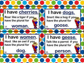 Plural Nouns I have Who has - With a twist