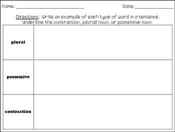 Plural Nouns, Possessive Nouns, and Contractions Sort - L.2.2c