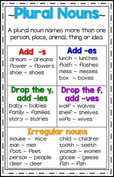 Plural Nouns Poster/Anchor Chart