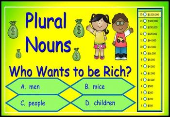 Plural Nouns Power Point Millionaire Game