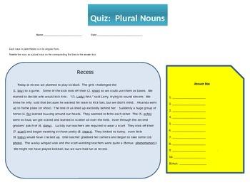 Grammar: Plural Nouns Quiz