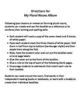 Plural Nouns Rule Booklet