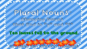"Plural Nouns Rules for ""F"" and ""V""  Mini-Lesson PowerPoint"
