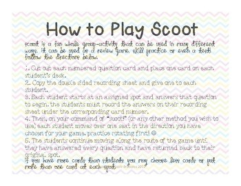 Plural Nouns SCOOT! Game, Task Cards or Assessment