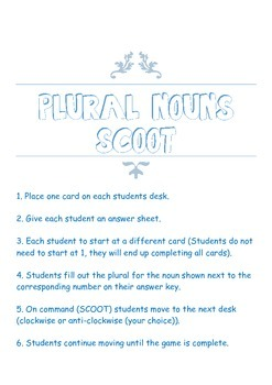 Plural Nouns Scoot **32 cards**