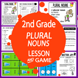 Plural Nouns Activities + Lesson, FULL COLOR Game, Plural Nouns Worksheet