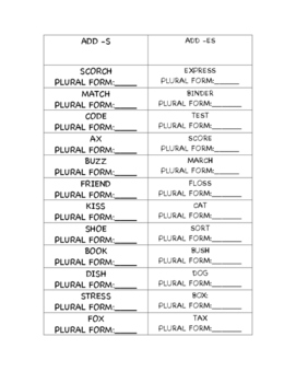 Plural Nouns Sort