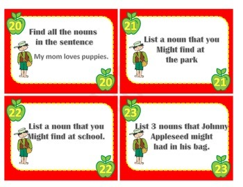 Plural Nouns Task Card Activity ( Johnny Appleseed)