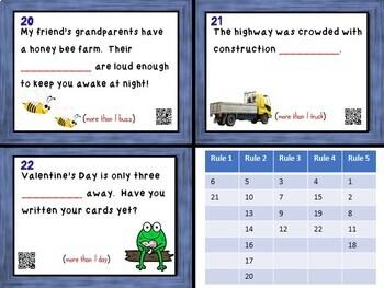 Plural Nouns Task Cards - 22 Cards w/ QR Codes!