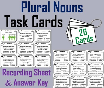Plural Nouns Task Cards 2nd 3rd 4th 5th Grade