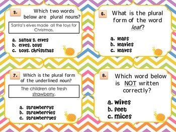 Plural Nouns Task Cards Set 2