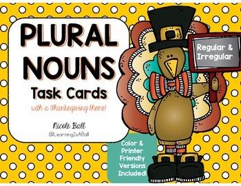 Plural Nouns Task Cards - Thanksgiving Theme!