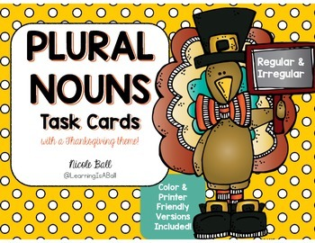 Plural Nouns Task Cards - Thanksgiving Theme!