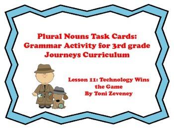 Plural Nouns Task Cards for Journeys 3rd Grade