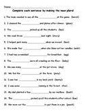 Plural Nouns Worksheet/Quiz