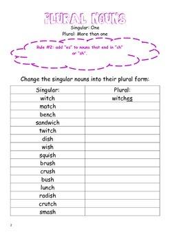 Plural Nouns Worksheets *addings/es*
