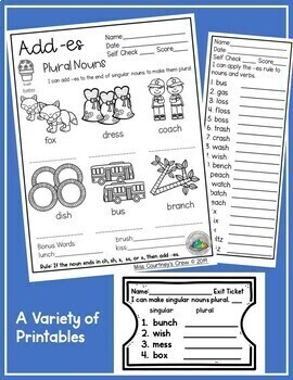 Plural Nouns Teaching Packet add es. Game, Worksheet, Activity & More