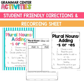 Plural Nouns (adding -s and -es) Sorting Center: in Color and B&W options