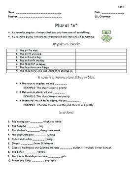 Plural Nouns for ESL/EFL Beginners - Grammar Practice