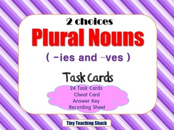 Plural Nouns (-ies and -ves) Task Cards - {SCOOT} 2 Choices
