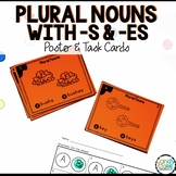 Plural Nouns -s and -es Activity: First Grade Grammar Task Cards with Poster