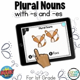Plural Nouns -s and -es: 1st Grade BOOM Cards Distance Learning