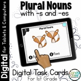 Plural Nouns -s and -es: First Grade Digital Task Cards for Grammar Practice