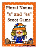 """Plural Nouns """"s"""" and """"es"""" Scoot Game - Scarecrows"""
