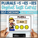Plural Nouns s, es, and ies Digital BOOM Cards   Distance Learning