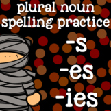 Plural Nouns - s, es, ies - Singular and Plural Nouns - Halloween - 2nd Grade