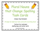 Plural Nouns that Change Spelling Task Cards (Easy to Read)