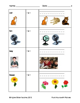 Plural Nouns with Pictures Worksheet