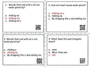 Plural Nouns with and without QR codes