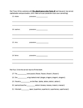 Plural Possessive Nouns Assessment - Quiz, Test, Study Guide, or Extra Practice