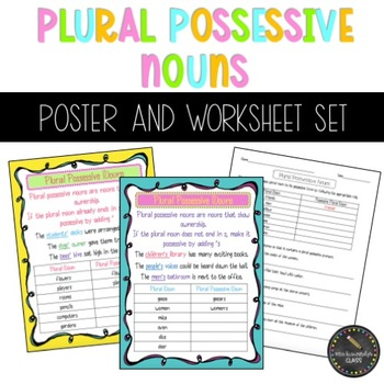Plural Possessive Nouns Poster and Worksheet Bundle