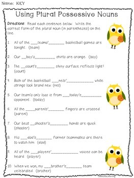 Plural Possessive Nouns - Sports Owl Themed!