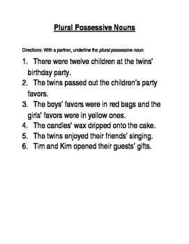 Plural Possessive Nouns worksheet