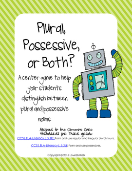 Plural, Possessive, or Both: A Center Sorting Game