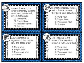 Plural, Proper, Possessive, Pronouns - U.S. Government Task Cards