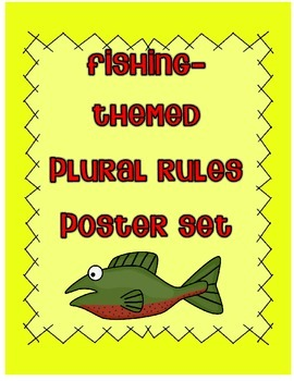 Plural Noun Rules Poster Set (fishing-themed)