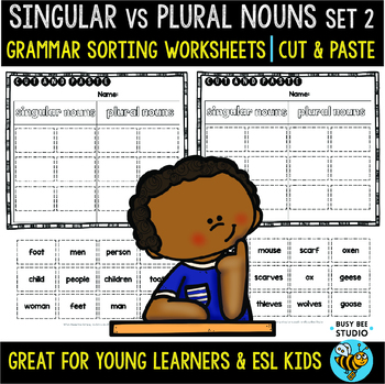 Plural & Singular Irregular Nouns Sorts | Cut and Paste Worksheets