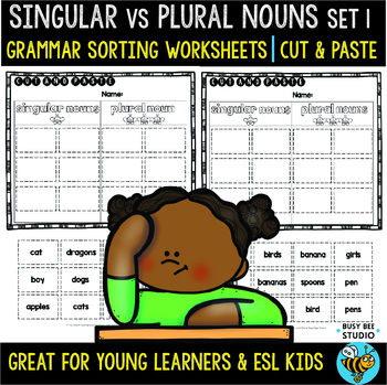 Plural & Singular Nouns Sorts | Cut and Paste Worksheets