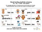 Plural Sorting Activity and Game   -es, -ies, -s with -ves option