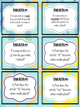 Plural Spanish Articles and Nouns Task Cards