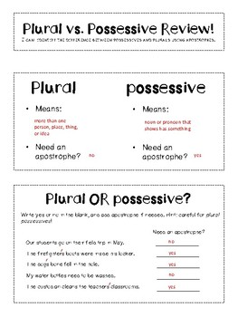 Plural Vs. Possessive Review Interactive Notebook