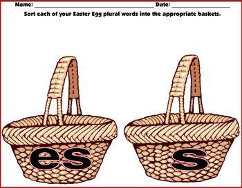 Plural Word Easter Egg Sort (Center)
