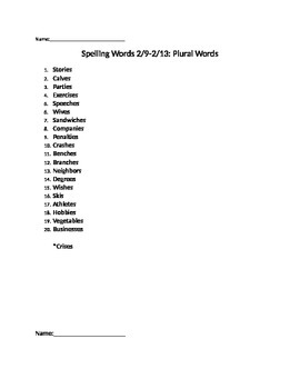 Plural Words Spelling List and Modified Test